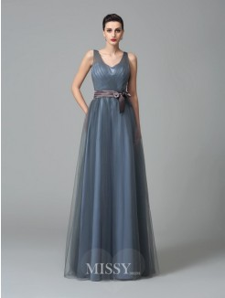 A-Line/Princess Sleeveless Straps Sash/Ribbon/Belt Floor-Length Net Bridesmaid Dresses