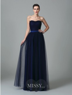 A-Line/Princess Sleeveless Sweetheart Ruffles Floor-Length Net Bridesmaid Dresses