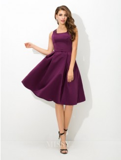 A-Line/Princess Sleeveless Square Pleats Knee-Length Satin Bridesmaid Dress
