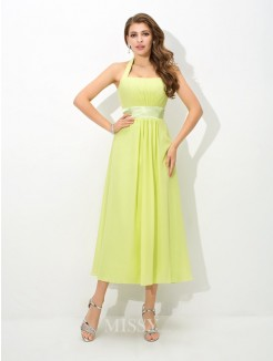 A-Line/Princess Halter Sleeveless Pleats Ankle-Length Chiffon Bridesmaid Dress
