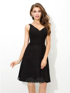 A-Line/Princess Sleeveless V-neck Pleats Knee-Length Chiffon Bridesmaid Dress