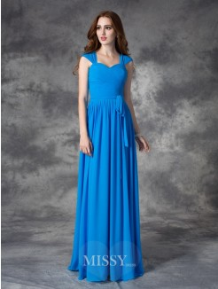 A-line/Princess Sleeveless Straps Ruffles Floor-length Chiffon Bridesmaid Dresses