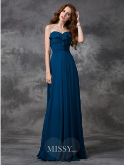 A-line/Princess Sleeveless Sweetheart Ruffles Floor-length Chiffon Bridesmaid Dress