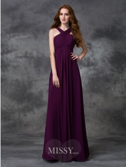 A-line/Princess Sleeveless Straps Ruched Floor-length Chiffon Bridesmaid Dresses