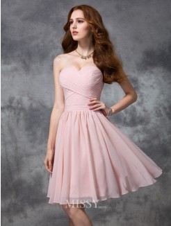 A-line/Princess Sleeveless Knee-length Sweetheart Ruched Chiffon Bridesmaid Dresses
