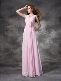 A-Line/Princess Sleeveless V-neck Hand-Made Flower Floor-Length Chiffon Bridesmaid Dresses