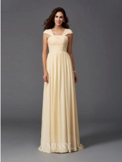 A-Line/Princess Sleeveless Straps Ruffles Sweep/Brush Train Chiffon Bridesmaid Dresses