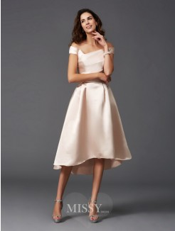 A-Line/Princess Off-the-Shoulder Sleeveless Asymmetrical Satin Bridesmaid Dresses