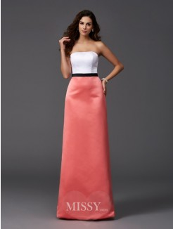 A-Line/Princess Strapless Sleeveless Floor-Length Satin Bridesmaid Dresses