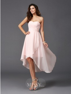A-Line/Princess Sleeveless Sweetheart Ruffles Asymmetrical Chiffon Bridesmaid Dresses