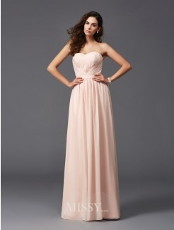 A-Line/Princess Sleeveless Sweetheart Pleats Floor-Length Chiffon Bridesmaid Dresses