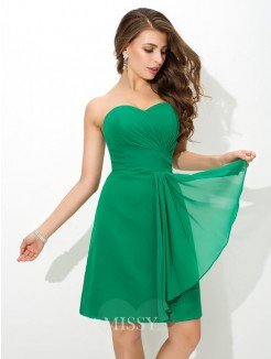 Sheath/Column Sleeveless Sweetheart Pleats Mini Chiffon Bridesmaid Dress