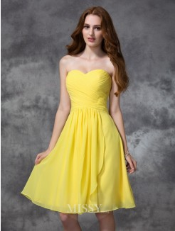 A-line/Princess Sleeveless Sweetheart Knee-length Ruched Chiffon Bridesmaid Dresses