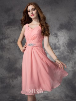 A-line/Princess Sleeveless Straps Rhinestone Knee-Length Chiffon Bridesmaid Dress