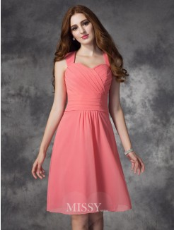 A-line/Princess Sleeveless Straps Ruched Knee-Length Chiffon Bridesmaid Dress