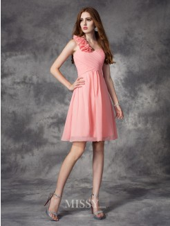 A-Line/Princess Sleeveless One-Shoulder Hand-Made Flower Mini Chiffon Bridesmaid Dress