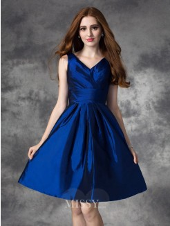 A-Line/Princess Sleeveless V-neck Ruched Mini Taffeta Bridesmaid Dress