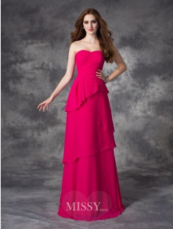 A-line/Princess Sleeveless Sweetheart Layers Floor-Length Chiffon Bridesmaid Dress