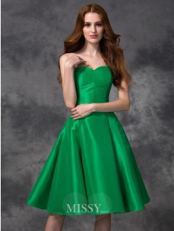 A-line/Princess Sleeveless Sweetheart Knee-length Taffeta Bridesmaid Dresses