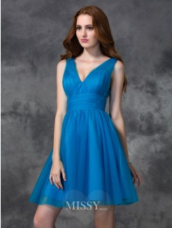 A-line/Princess Sleeveless V-neck Mini Satin Bridesmaid Dresses