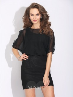 A-Line/Princess Jewel Beading 1/2 Sleeves Mini Chiffon Dress