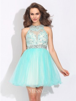 A-Line/Princess High Neck Lace Sleeveless Mini Net Dress