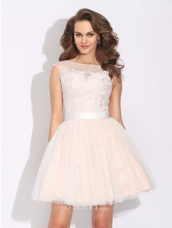 A-Line/Princess Bateau Ruffles Short Sleeves Mini Net Dress