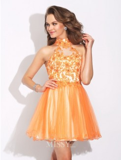A-Line/Princess High Neck Ruffles Sleeveless Mini Net Dress