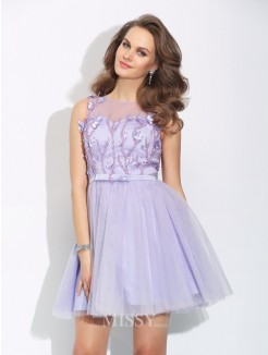 A-Line/Princess Bateau Applique Sleeveless Mini Satin Dress