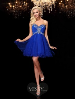 A-line/Princess Sleeveless Sweetheart Beading Mini Net Dresses