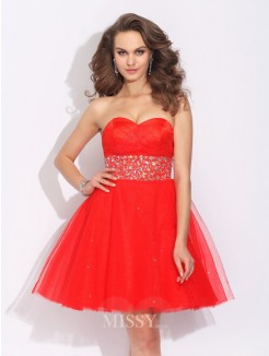 A-Line/Princess Sweetheart Rhinestone Sleeveless Mini Net Dress
