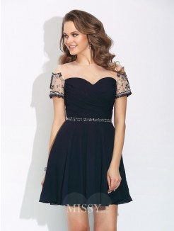 A-Line/Princess Short Sleeves Jewel Beading Mini Chiffon Dress