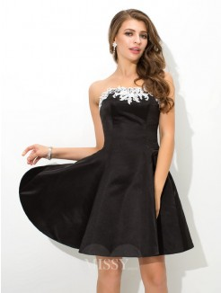 A-Line/Princess Strapless Sleeveless Applique Mini Satin Cocktail Dress
