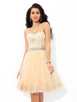 A-Line/Princess Sweetheart Beading Sleeveless Mini Satin Cocktail Dress