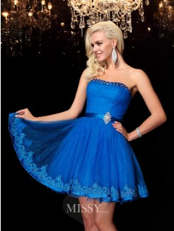 A-line/Princess Strapless Sleeveless Beading Mini Net Dresses