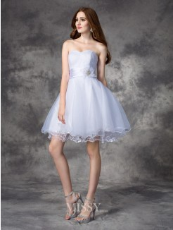 A-line/Princess Sleeveless Sweetheart Ruffles Mini Organza Dress