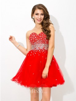A-Line/Princess Sleeveless Sweetheart Beading Mini Organza Cocktail Dress