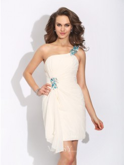 Sheath/Column Sleeveless Beading One-Shoulder Mini Chiffon Dress
