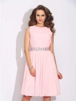A-Line/Princess Sleeveless Jewel Ruffles Knee-Length Chiffon Dress