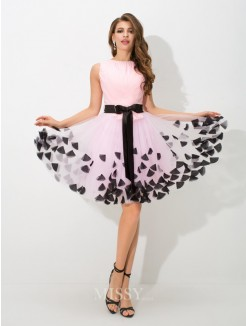 A-Line/Princess Sleeveless High Neck Bowknot Mini Net Cocktail Dress