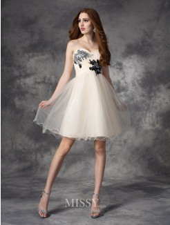 A-line/Princess Sleeveless Sweetheart Applique Mini Net Dress