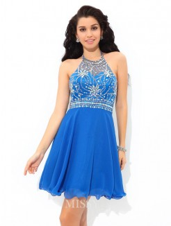A-Line/Princess Halter Beading Sleeveless Mini Chiffon Cocktail Dress