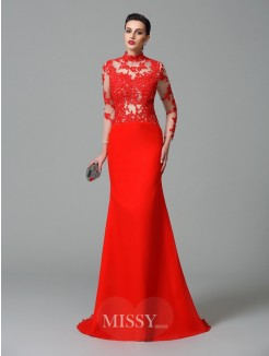 Trumpet/Mermaid High Neck Long Sleeves Applique Sweep/Brush Train Chiffon Dresses