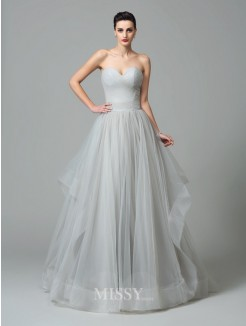 A-Line/Princess Sleeveless Sweetheart Layers Sweep/Brush Train Net Dresses