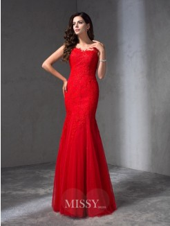 Sheath/Column Sleeveless Scoop Applique Floor-Length Lace Dresses