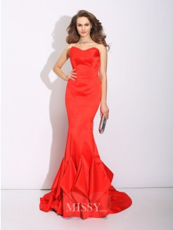 Trumpet/Mermaid Sweetheart Layers Sleeveless Court Train Satin Dress