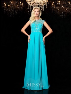 A-Line/Princess Lace Jewel Short Sleeves Floor-Length Chiffon Dresses