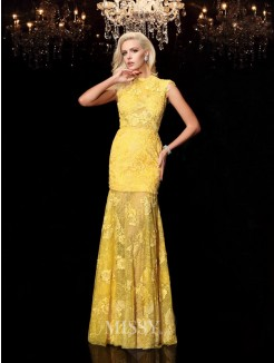 Sheath/Column Lace Jewel Short Sleeves Floor-Length Chiffon Dresses