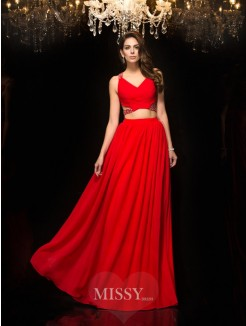 A-Line/Princess Sleeveless V-neck Beading Chiffon Floor-Length Two Piece Dresses