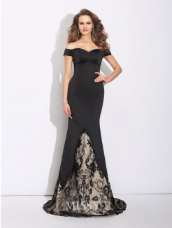 Trumpet/Mermaid Off-the-Shoulder Lace Sleeveless Sweep/Brush Train Satin Dress